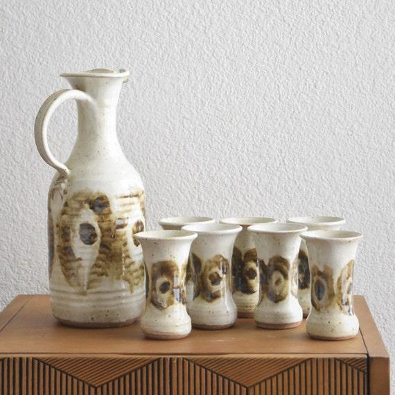 white beige brown earthtone speckled stoneware pitcher goblet set / vessel