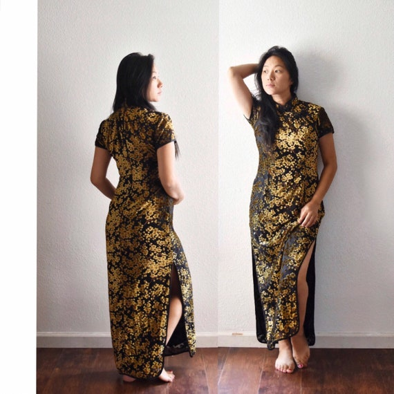 1950s summer evening long black asian Chinese dress | short sleeve floral gown