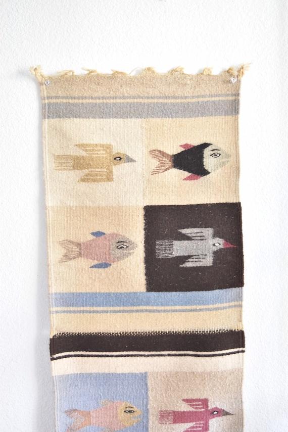 vintage woven wool peruvian bird wall hanging rug tapestry | fringe animal fiber art