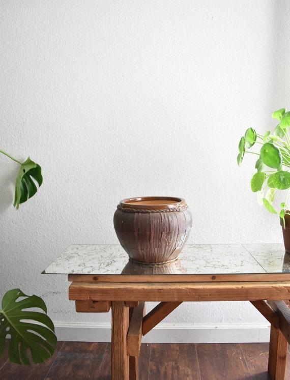 woven earth tone brown stoneware flower pot planter / vessel / pottery