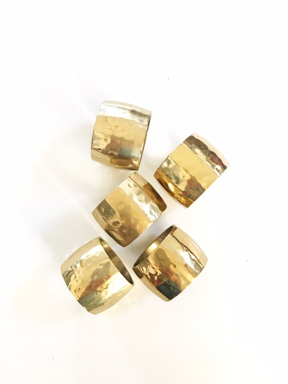vintage set of glam brass napkin ring holders