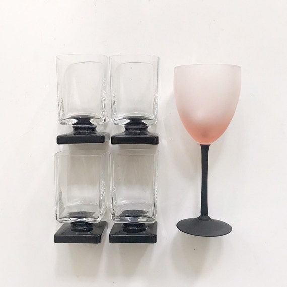 mid century modern set of black purple short stemmed tumbler cocktail glasses / gift barware