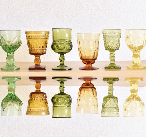 mix collection of 6 ornate green amber glass champagne wine glass goblets / depression glass set