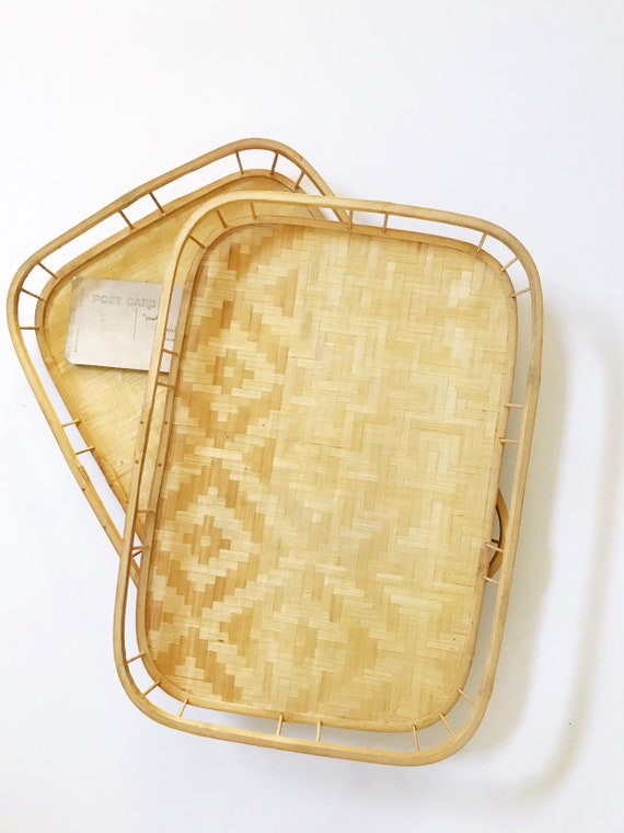vintage bamboo rattan tiki serving tray / tropical beach house platter
