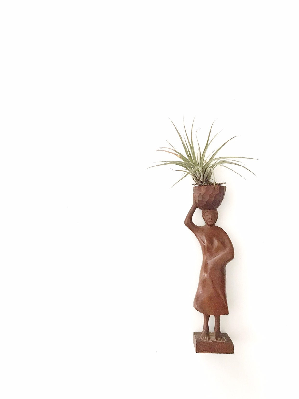 Vintage Aboriginal Woman Figurine Wood Aboriginal