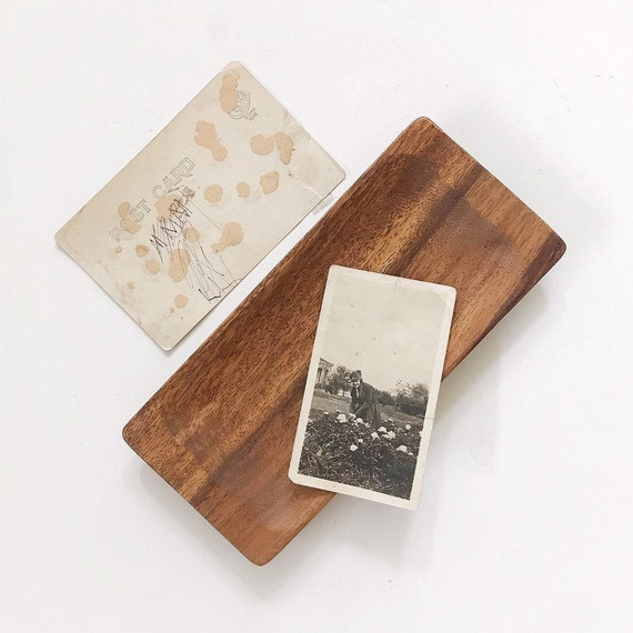 small rectangular wood tray | business card holder | office farmhouse home decor