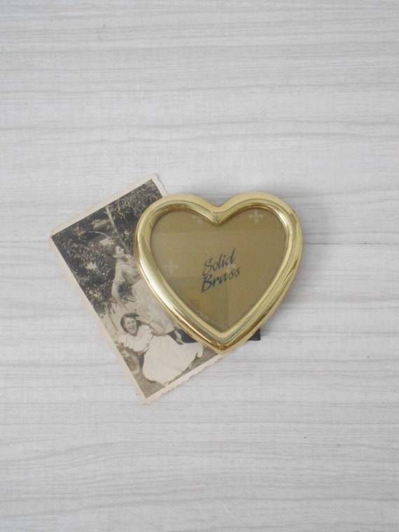 vintage brass valentine's heart picture frame / standing photo display