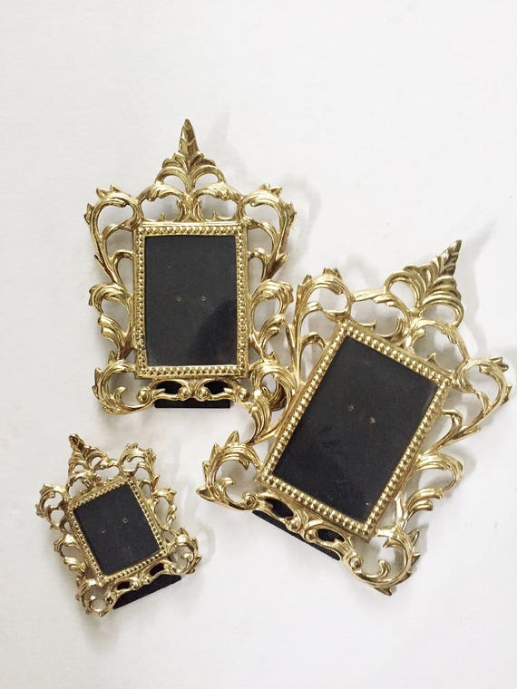 set of 3 heavy ornate brass picture frames / standing photo display