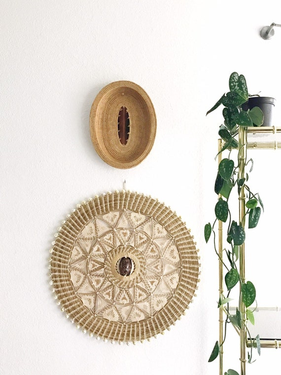 woven wicker rattan coiled oval basket | decorative wooden wall hanging basket