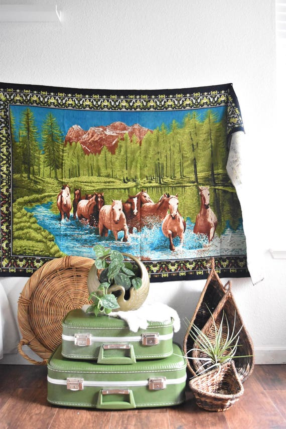 vintage turkish horse wall hanging tapestry / cabin wall hanging art / textile / buck hunting