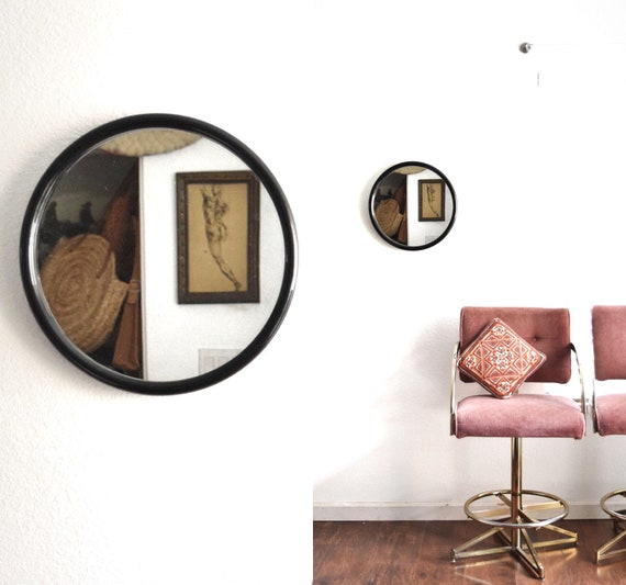 black round circle mid century modern wall hanging mirror   80s 90s mirror