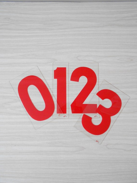 vintage bright red rigid plastic gas station numbers // wall decal