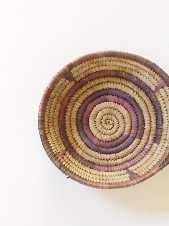 vintage purple woven wall hanging coiled textile basket / decorative african
