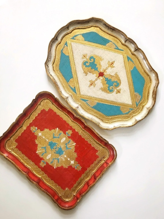 red turquoise blue florentine italian faux wood tray | victorian gold trim wall plate