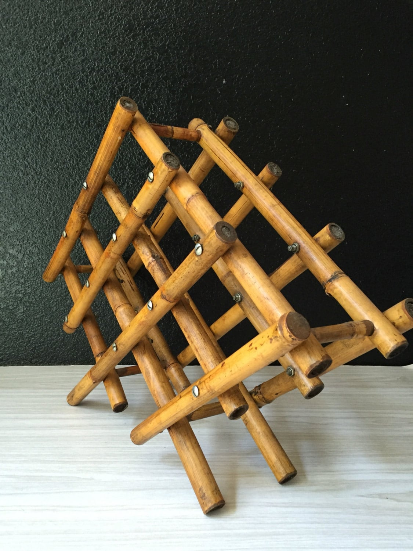 mid century modern bamboo chinoiserie wine rack