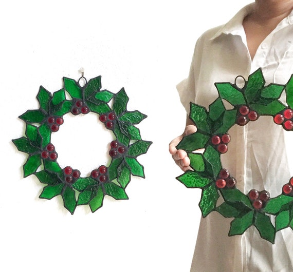 vintage stained glass Christmas wall hanging window wreath   door wreath decoration