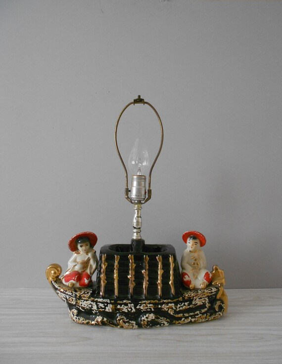 1950s collectible mid century chinese ceramic boat lamp / asian / oriental decor