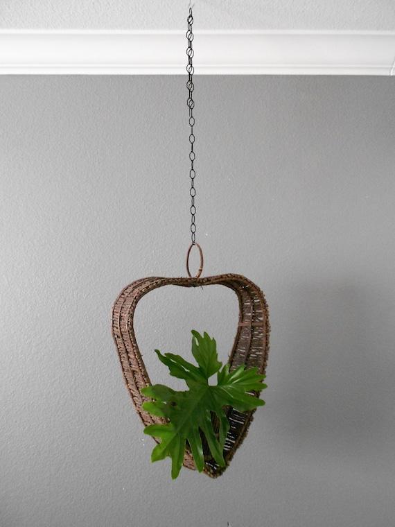 large woven heart wicker hanging basket planter / hanging flower pot