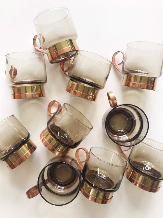 mid century modern beucler cobra irish glass copper tea cup mugs | set of 4