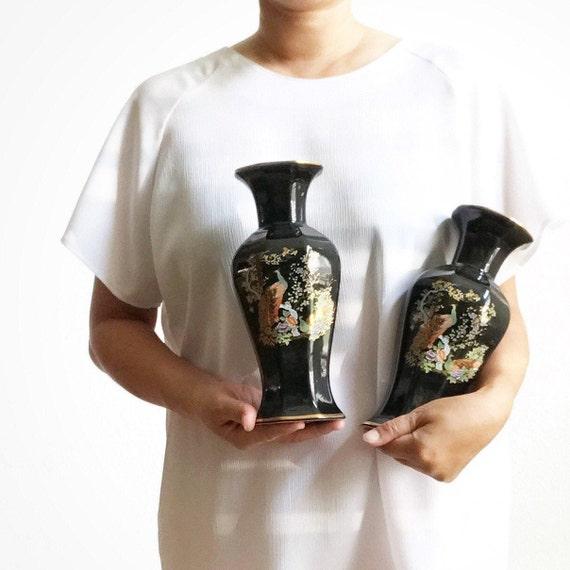 matching japanese black peacock and flower ceramic pottery flower vases | housewarming gift set