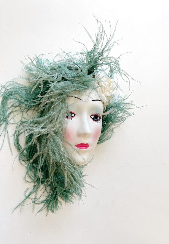 art deco 1980s blue hair hand painted woman face mask sculpture | wall hanging mask