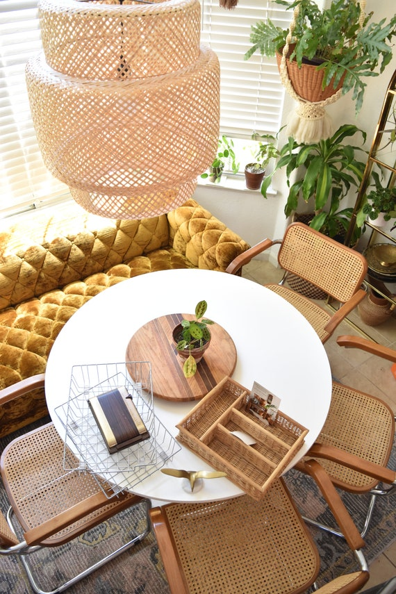 office mid century woven rattan wicker office paper file storage / note holder