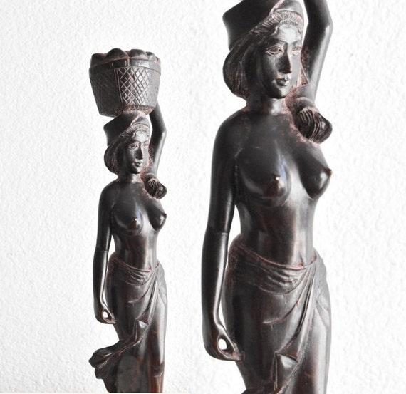 tall carved teak wood nude women sculpture figurine / exotic / islander