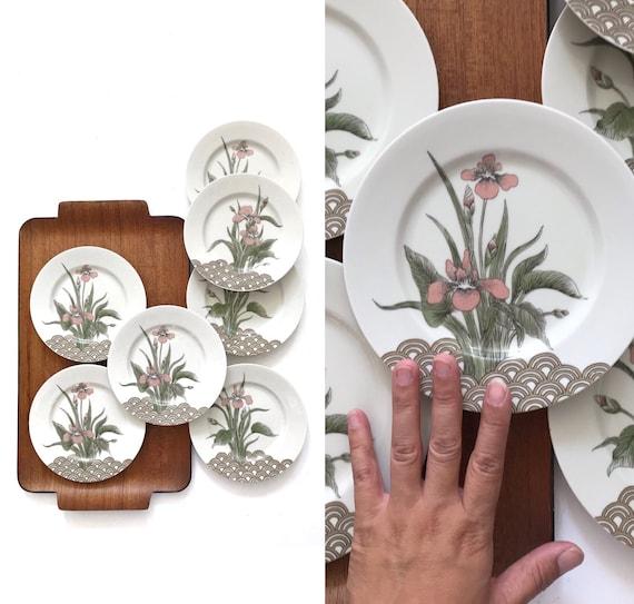 mikasa pink iris flower appetizer plate set of 7 / salad plates