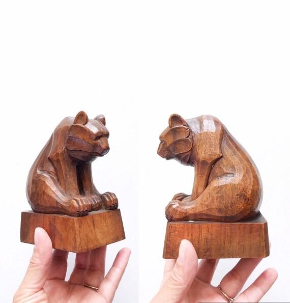 minimalist mid century modern danish carved wood bear figurine sculpture | sitting brown bear
