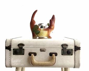 1960s ceramic dachshund dog figurine planter pot  | doxie weiner dog caddy