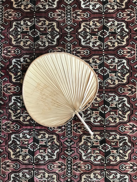 vintage chinese woven straw fan / wall hanging basket