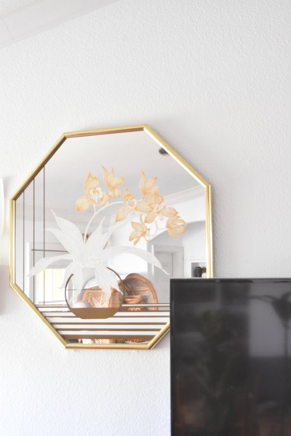 large mid century modern gold octagon wall hanging mirror | etched flower floral pattern