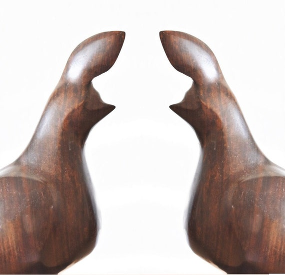 mid century modern carved wood bird teak figurine scultpure / statue