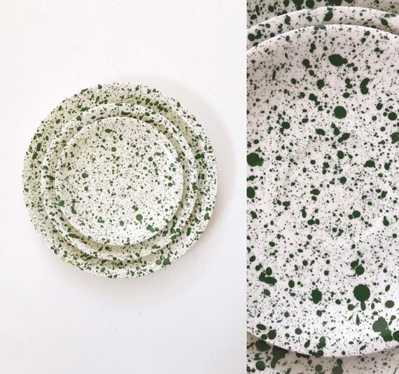 set of 3 white green speckled ceramic pottery dishes | serving plate