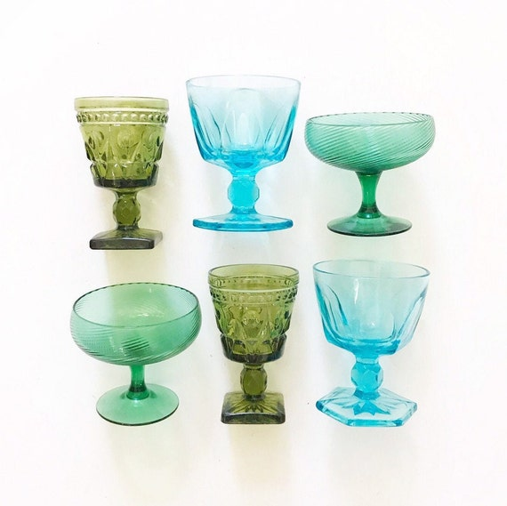 mix collection of 6 ornate green glass champagne wine glass goblets / depression glass set