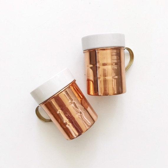 set of 2 rustic regency copper ceramic cups / barware tumbler mugs