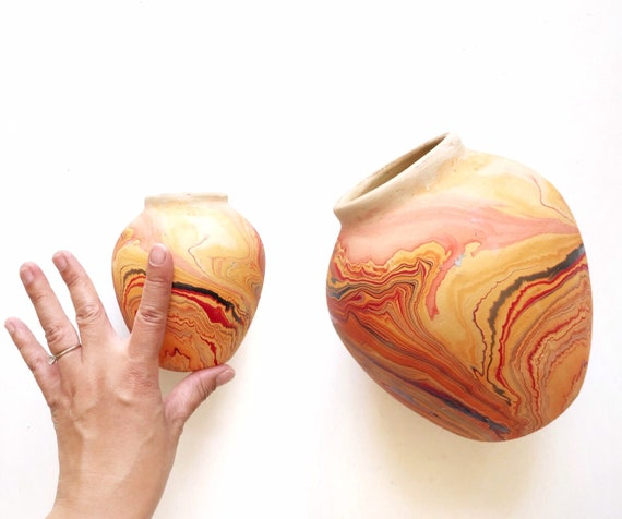 yellow red orange nemadji pottery vase / small clay pot