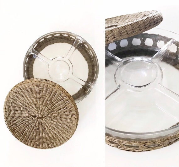 large divided glass woven straw serving snack tray with lid | chips and dip platter