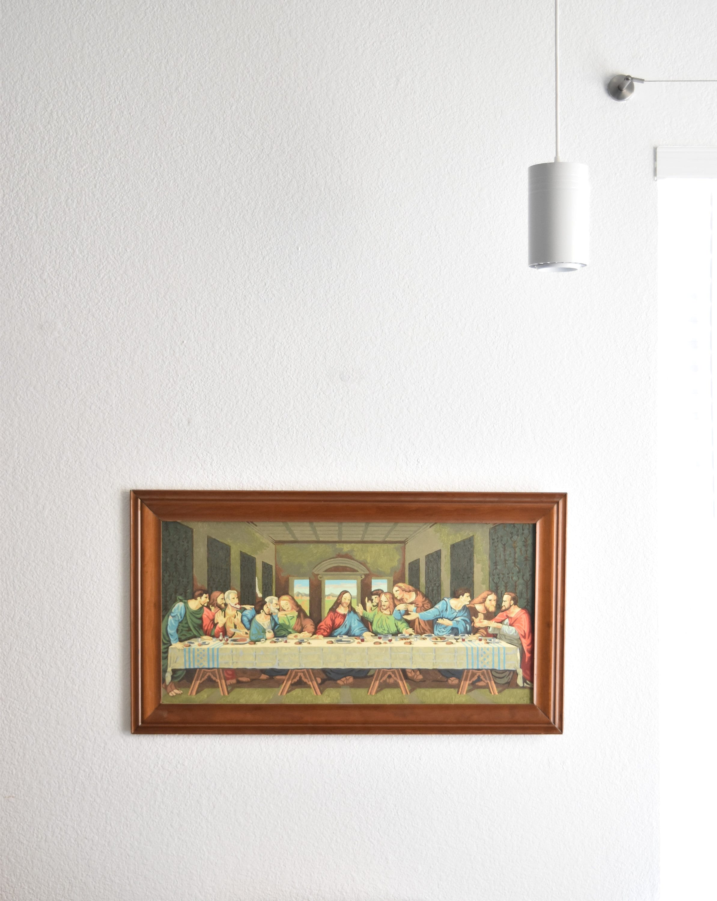 framed mid century large wall hanging paint by numbers jesus last ...