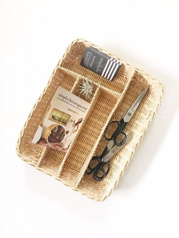 woven wicker office supply file storage / business card paper note holder