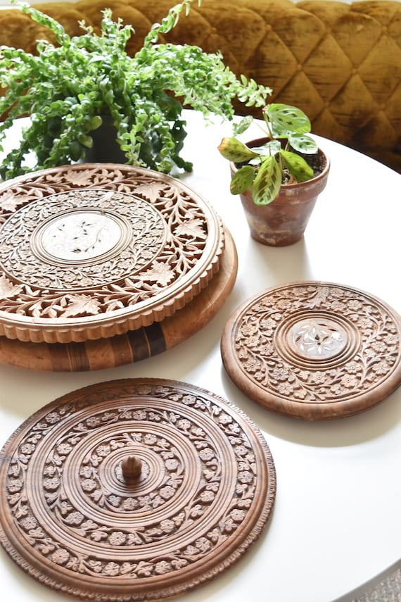 carved solid wood metal trivet table top / plant stand / planter / bohemian