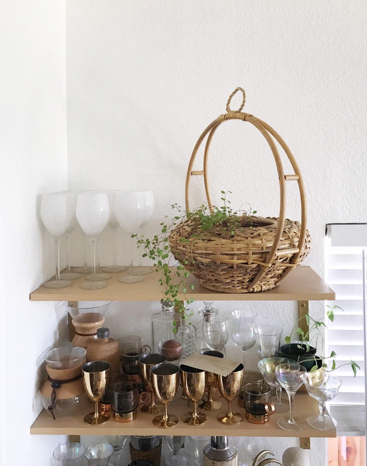 Large Vintage Woven Wicker Rattan Hanging Basket Planter
