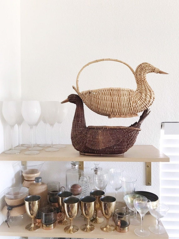 boho woven wicker bird duck basket planter figurine / sculpture