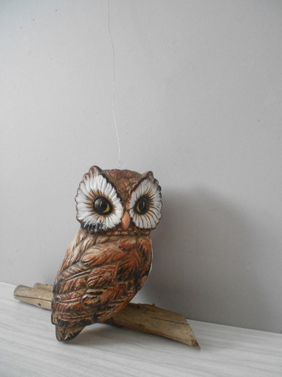 hanging large ceramic owl on a branch figurine / brown / baby nursery decor