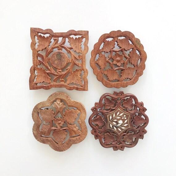vintage carved solid wood metal trivet / plant stand / planter / boho / hot plate set of 4