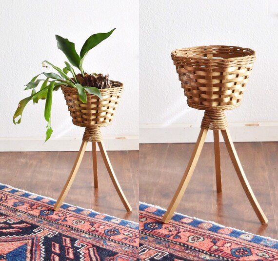 vintage mid century woven wicker 3 legged wood planter / plant stand / boho home decor