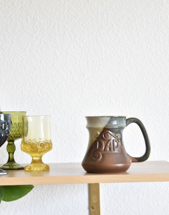 blue brown vintage ceramic stoneware dad ceramic coffee mug / earth tone