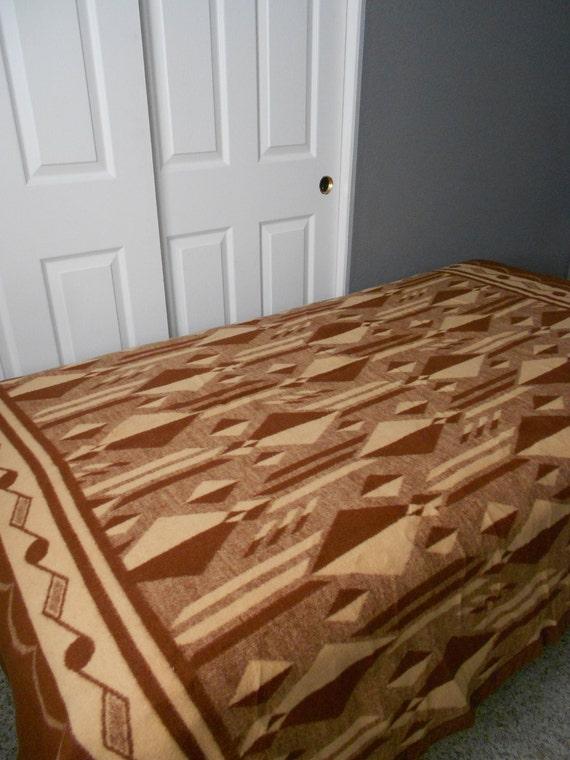 vintage brown geometric decorative wool blanket / woolen / southwestern