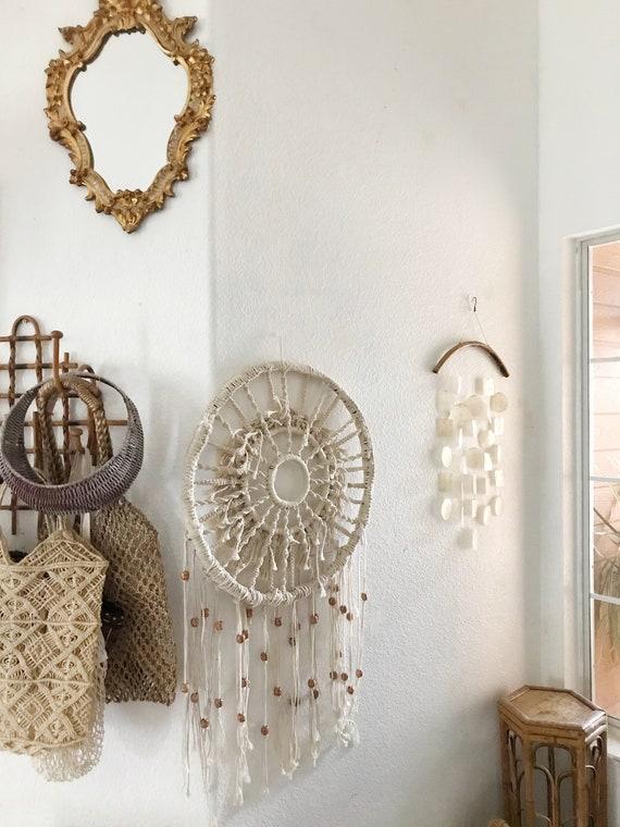 large beaded macrame dreamcatcher bohemian wall hanging / mandala