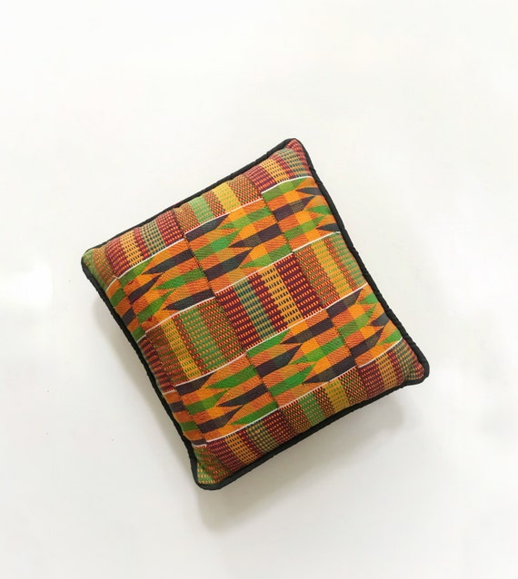 retro kilim orange decorative yellow tribal african kente throw pillow / patterned green blue sofa cushion pillow